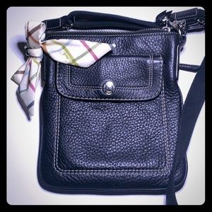 Coach- Black Pebbled Leather Park Crossbody